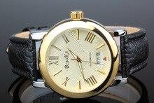 2016 ПОСЛЕДНИМ BIAOKA часы большой циферблат мужской часы синего стекла водонепроницаемый календарь автоматические механические Кожа Наручные Часы