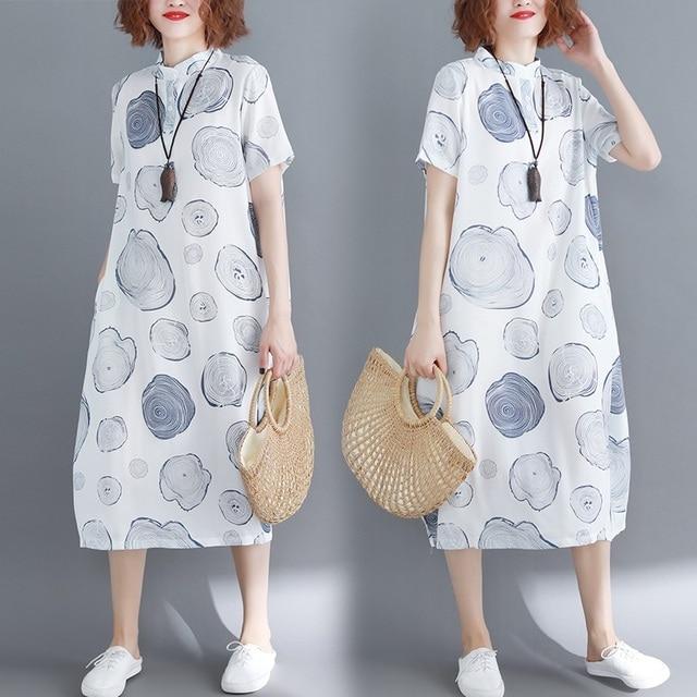 Coton lin grande taille vintage fleurs femmes décontracté en vrac longue robe dété vêtements élégants 2020 dames robes robe dété