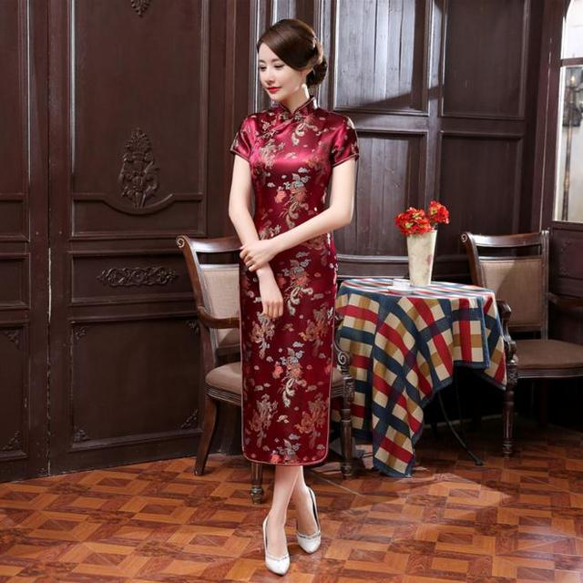 Hot Sale Burgundy Chinese Ladies Silk Satin Cheongsam Summer Long Qipao Novelty Evening Dress Vintage Dragon S M L XL XXL WC062