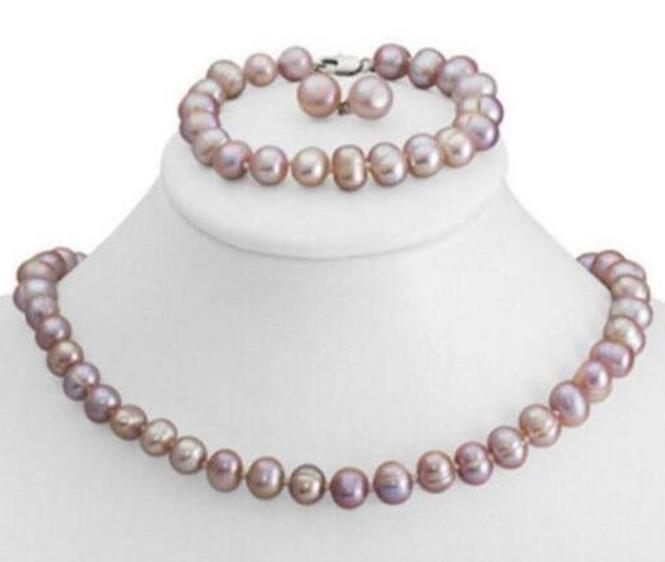 8-9 mm natural purple pearl necklace bracelet earring set