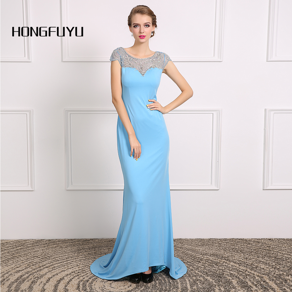 Elegant Sweetheart Neck Beading Blue Chiffon Cap Sleeve Long   Prom     Dresses   2019 A Line Backless Floor Length   Prom     Dress   SML5028