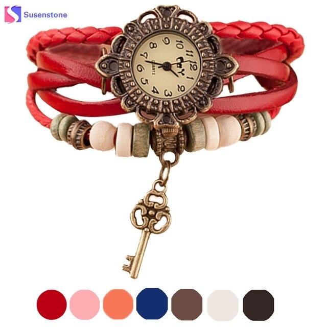 Female Leather Weave Around Key Pendant Women Bracelet Watches Vintage Analog Qu