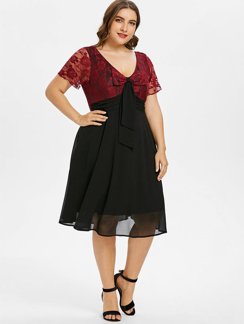 f70ca1b2025a7 Gamiss Plus Size Dress Bowknot Embellished V Neck Lace Trim Two Tone A-Line  Dresses