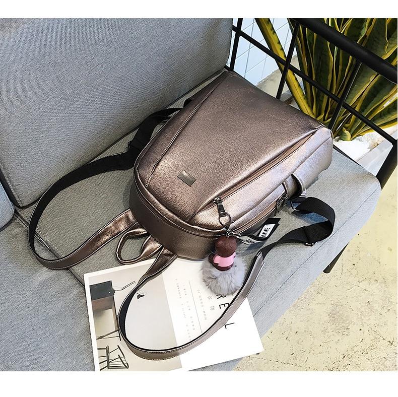 HTB1 r53a4 rK1RkHFqDq6yJAFXac Fashion Gold Leather Backpack Women Black Vintage Large Bag For Female Teenage Girls School Bag Solid Backpacks mochila XA56H