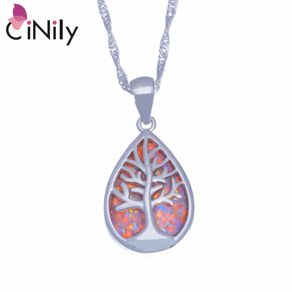 Tree of Life CiNily Created Orange Blue Fire Opal Silver Plated Wholesale Women Jewelry Pendant Necklace With the Chain OD6854-5