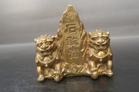 China old Bronze statue Geomantic stone worship copper statue ware of Fengshui