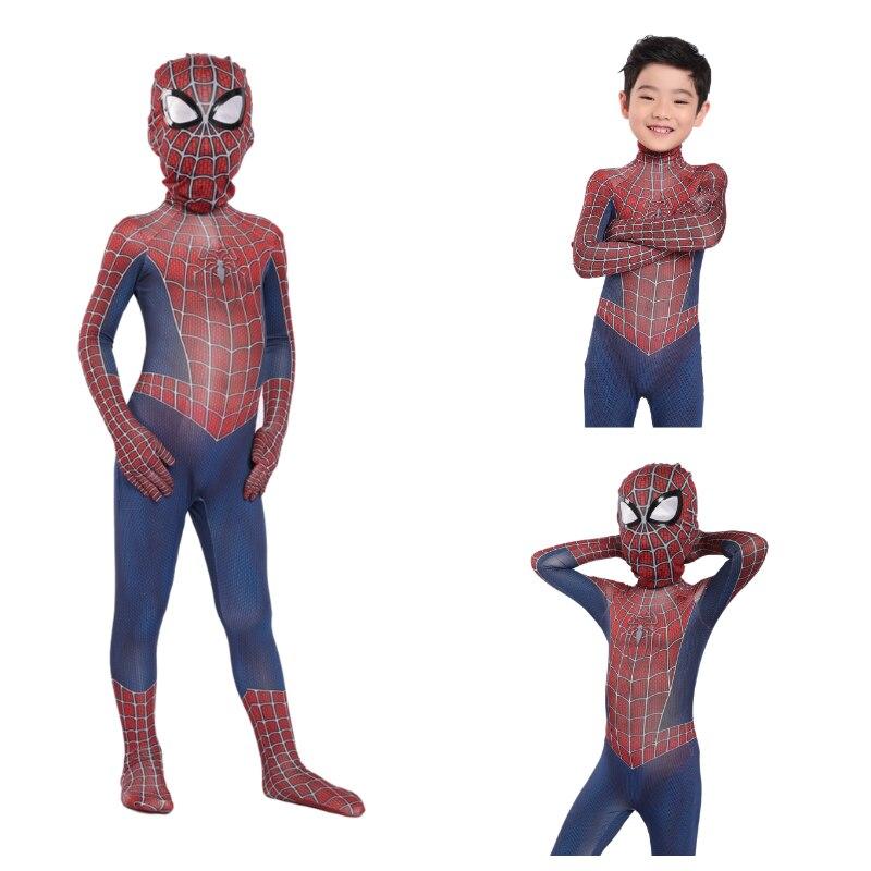 New 2019 Kids Spider-Man Raimi Cosplay Costume  Halloween Costumes For Kid Spiderman Costume
