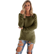 Womens Casual Solid Long Sleeve Jumper Tops Plus Size Female Autumn winter Clothing Loose Soft knitted pullover