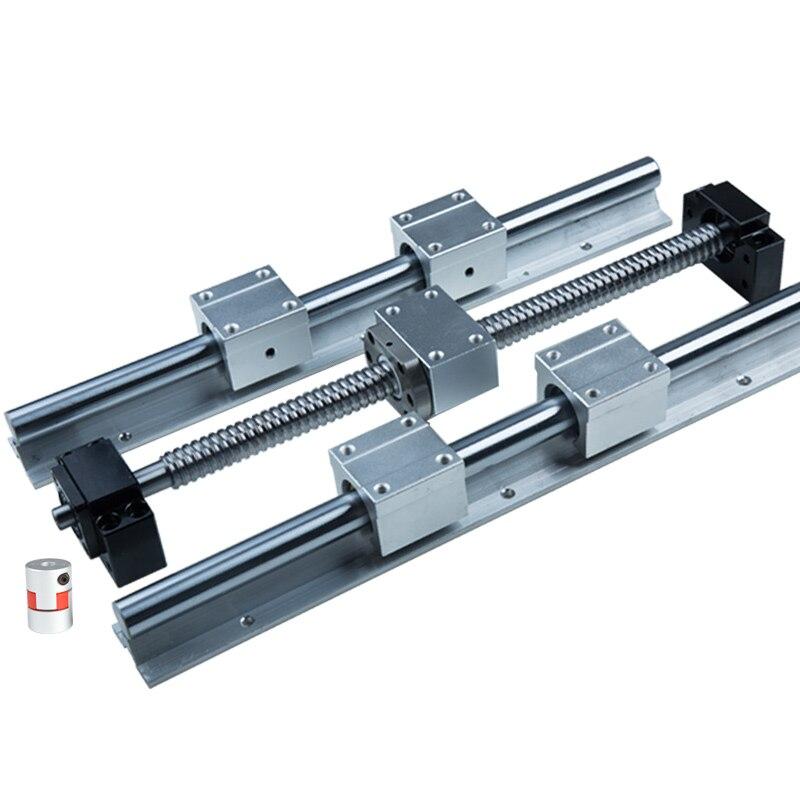 6 ensembles SBR16 CNC rail de guidage 300 600 1000mm + actionneur linéaire vis à billes RM1605 3 ensembles avec usinage d'extrémité + support + couplage