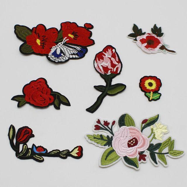1 pçs lote mix desenhos animados flor flor rosa vermelha bordado
