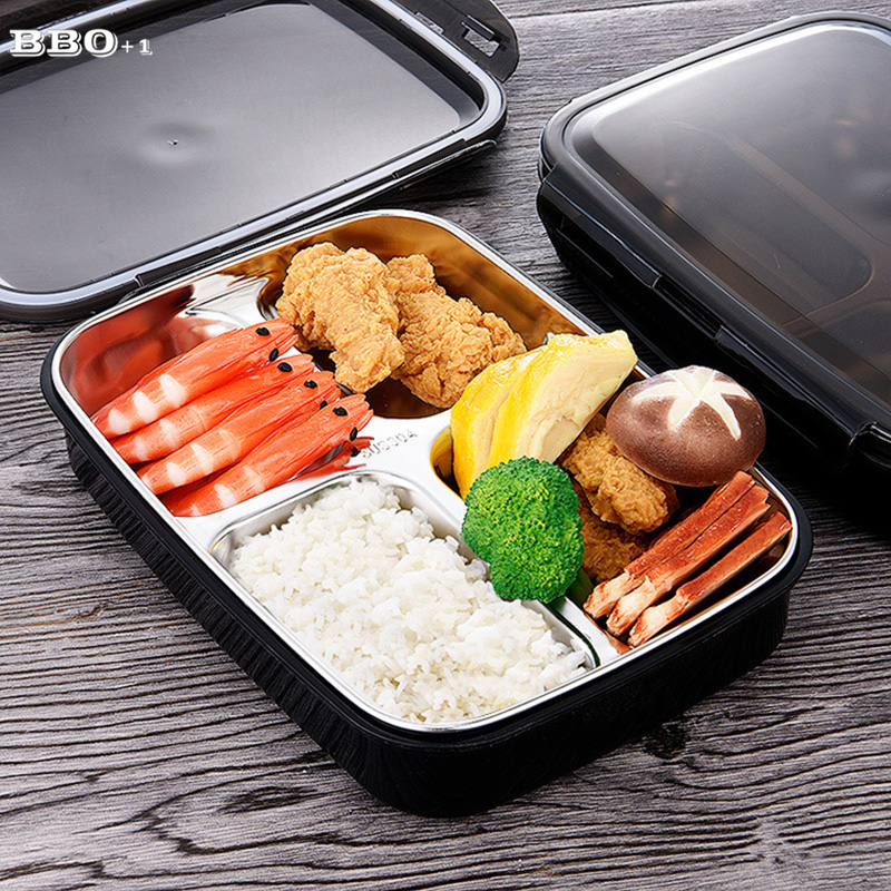Portable Black Japanese Bento Lunchbox Stainless steel ...
