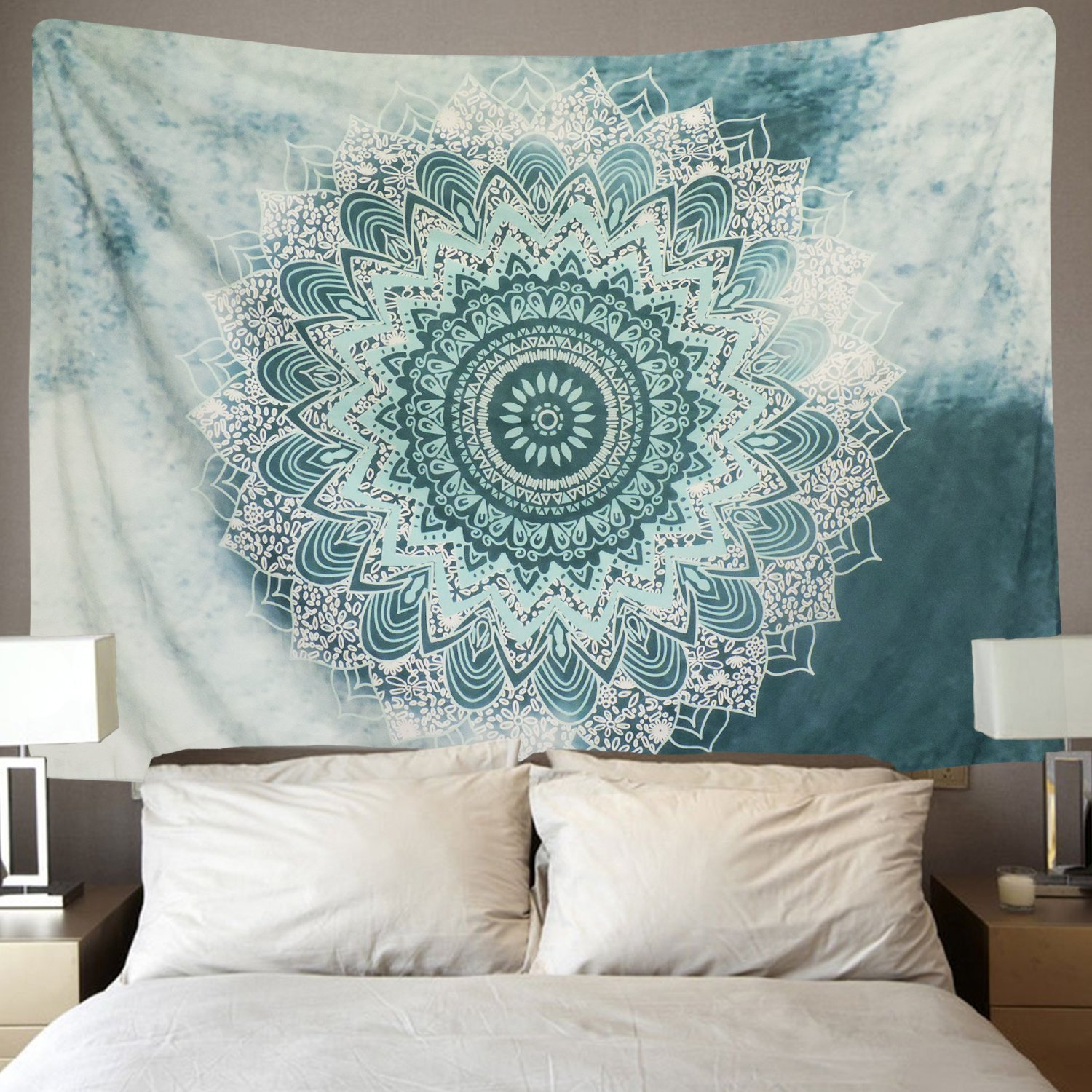 SENGE Indian Mandala Tapestry Wall Hanging Flower Psychedelic Bohemian Tapestries for Room Multi Color