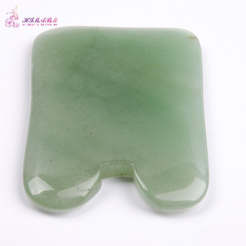 HIMABM 1 Pcs natural light green dong ling  jade Guasha board facial treatment scraping tool for body massage health care