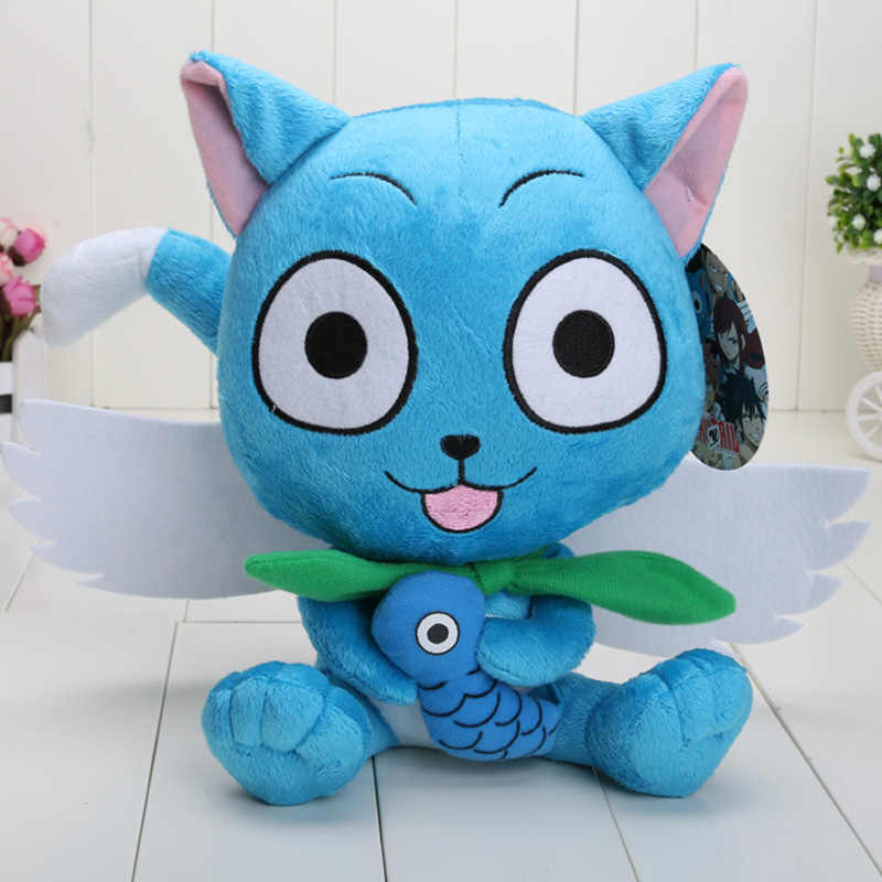 Plush Fairy Tail Blue Anime Happy Cat Keychain New