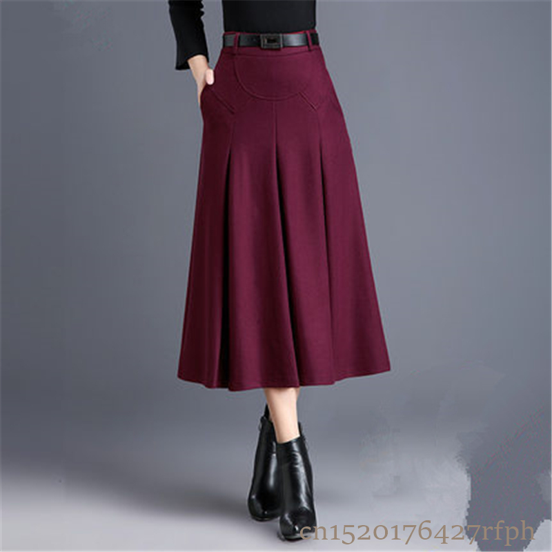 2018 New Fashion OL Autumn Winter Women Wool Skirts Plus Size High Waist Saias Femininas Casual Midi Pleated A-Line Skirt Female