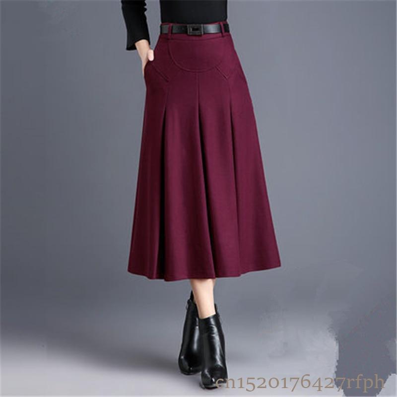 2018 New Fashion OL Autumn Winter Women Wool Skirts Plus Size High Waist Saias Femininas Casual Midi Pleated A-Line Skirt Female