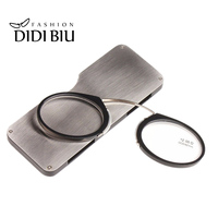 DIDI New Clip Nose TR90 Mini Reading Glasses Round Ultralight SOS Wallet Older Glasses With Box