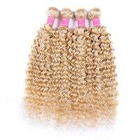 613 Honey Blonde Human Hair Bundles 1/3/4 Deep Wave Hair Brazilian Hair Weave Bundles 100% Remy Human Hair 613 Extensions