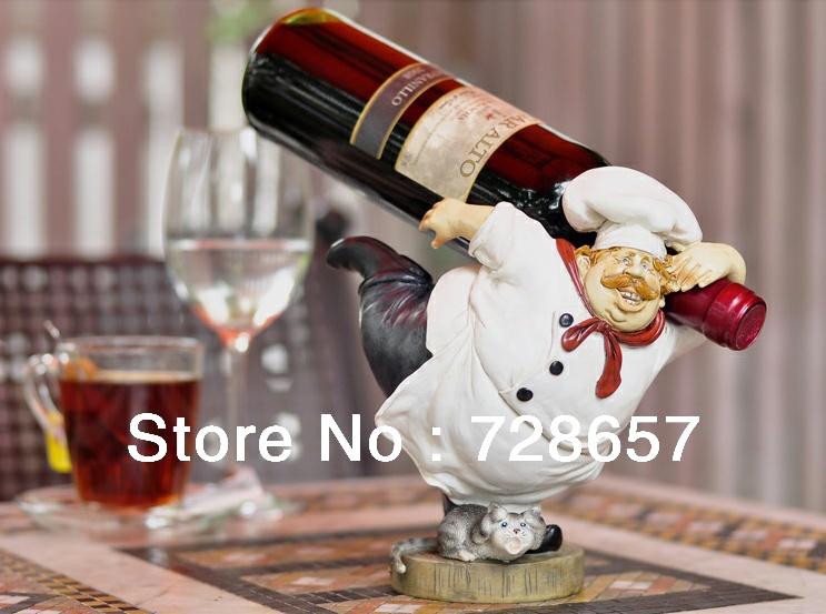 Aliexpress Com Buy Creative Fat Chef Sculpture Wine Rack Decorative Resin Cook Statue Bottle Holder Bar Drinking Utility Ornament Craft Accessories From