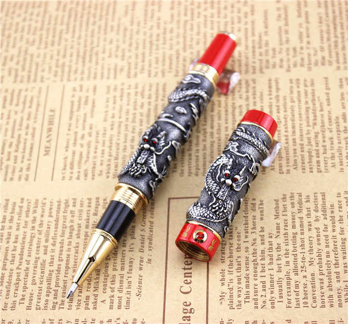 JINHAO ballpoint Pen School Office Stationery high quality dragon roller ball pens luxury business gift send a extra refill 007 black jinhao free shipping fountain pen high quality pens business gift school office supplies send friend father teacher 003