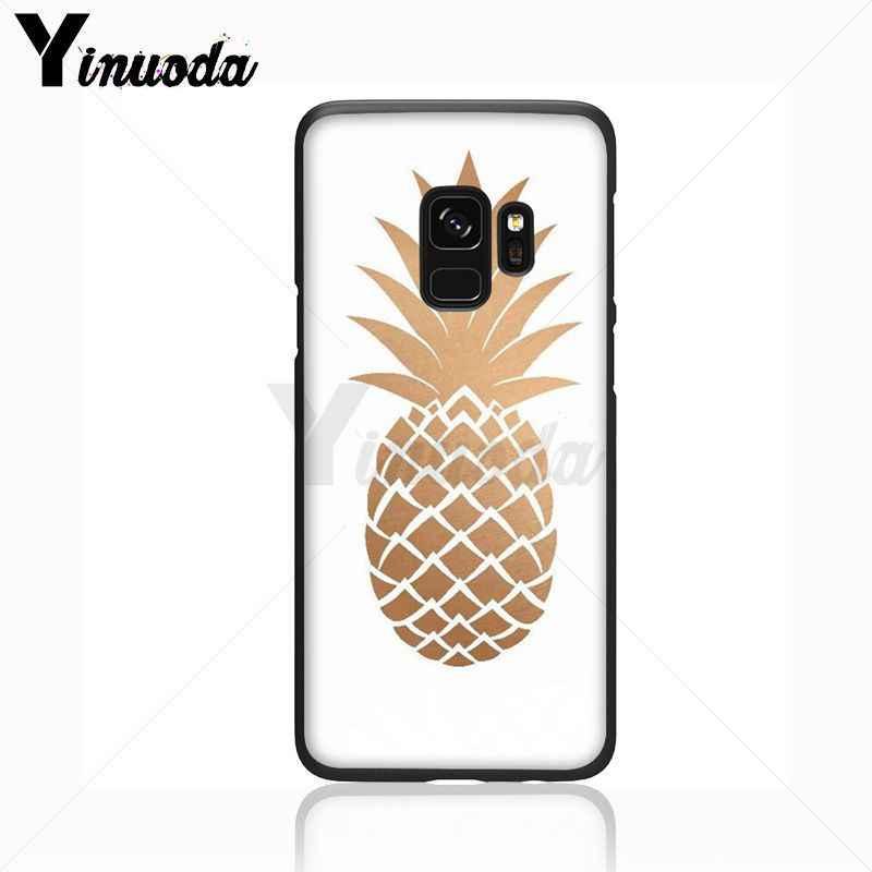 Yinuoda verano deliciosa fruta lindo oro piña silicona caso de teléfono para Samsung Galaxy s8 s9plus note8 note9 s7 s10lite cubierta