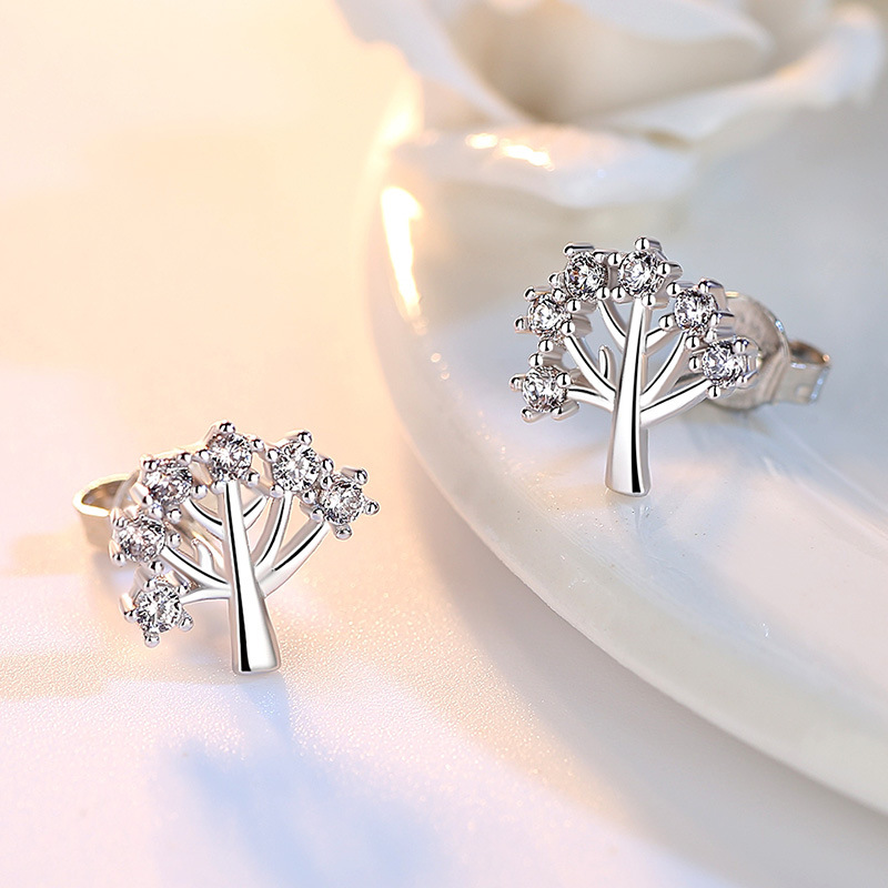6c35dde01 100% 925 sterling silver fashion shiny crystal Christmas tree ladies`stud  earrings jewelry gift no fade Anti allergy -in Stud Earrings from Jewelry  ...