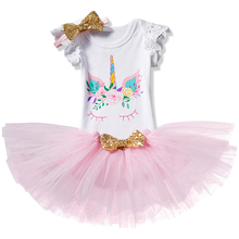 2018 New Cartoon Unicorn Baby Girls Princess Birthday Party Dress Tutu Tulle Dresses Summer Clothes 12 Months Toddler Costume