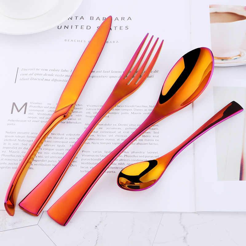 Rainbow Spoon Fork Set Bisda 2-Piece Stainless Steel 18 10 Serving Spoon Fork Set