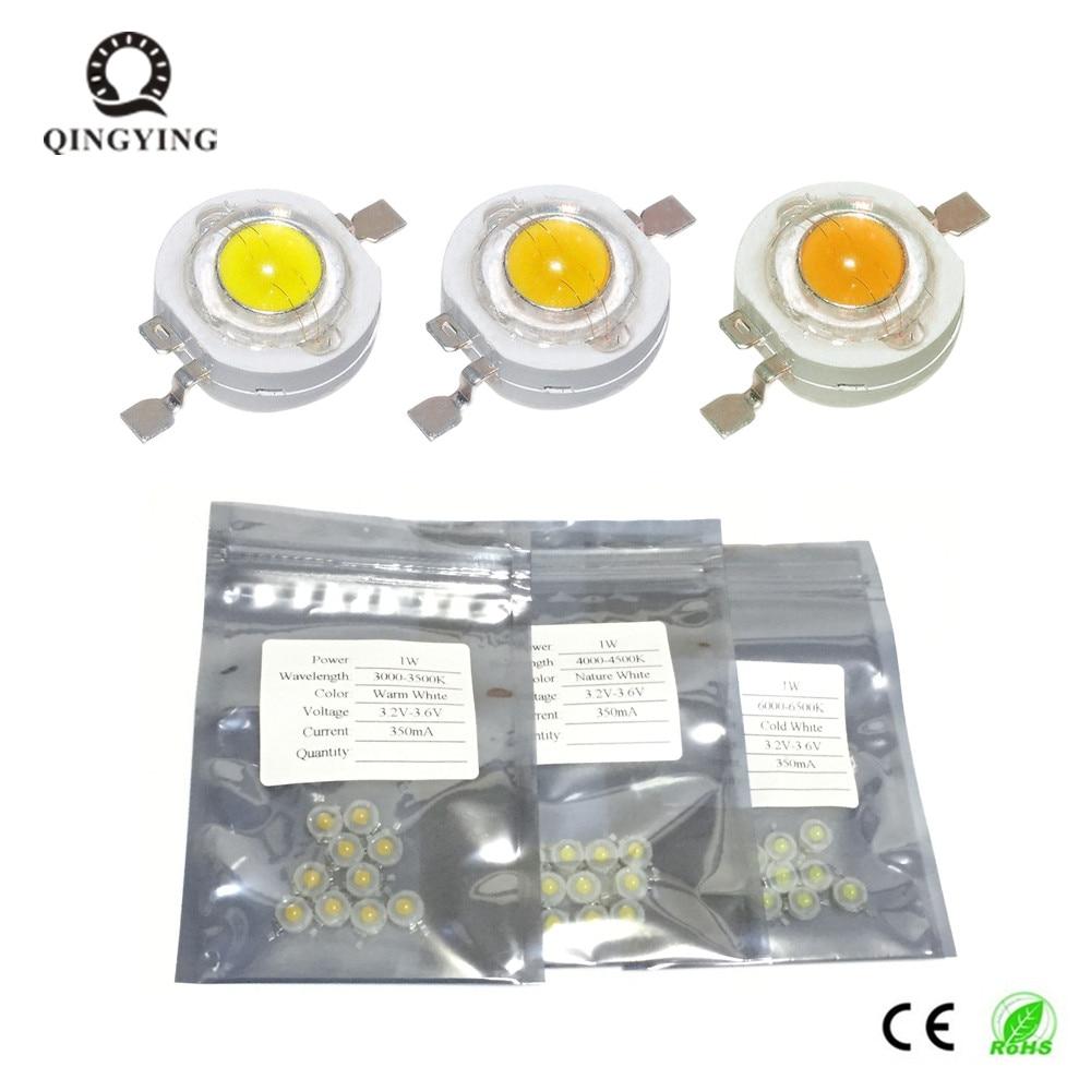 10pcs-50pcs Full Power 1W High Power LED DC3.2-3.4V 350mA Cold Nature Warm White 3000K 4500K 6500K Lamp Bulbs Light Diodes