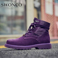 SWONCO Women's Boots Autumn Martins Purple Flock Plus Size 42 43 44 Ladies Fashion Martin Shoes Female Oxfords Chunky Heel Shoes
