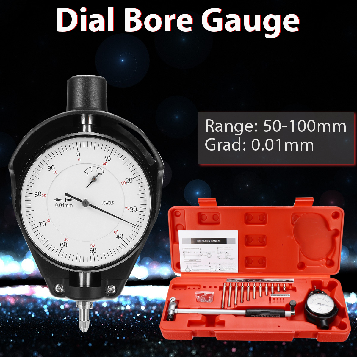 цена на 50-100mm Grad 0.01mm Steel+ABS Range Dial Bore Gauge Measuring Indicator Resolution Tool Movable Probe/Changeable Durability