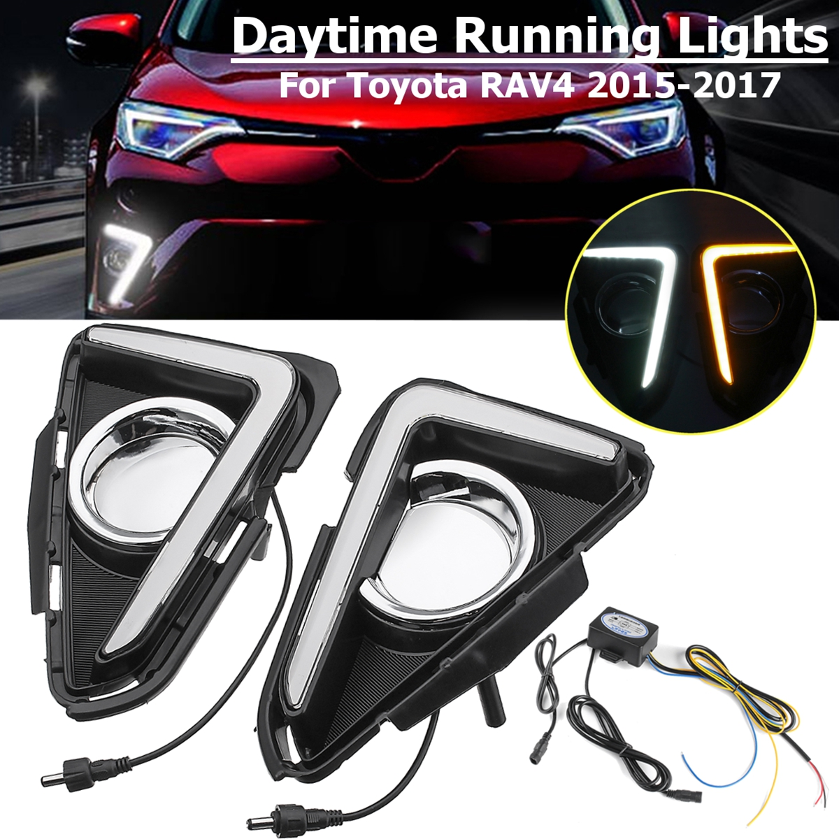 For Toyota RAV4 2016 2017 1 Pair LED Daytime Running Light Yellow Turning Signal Waterproof ABS 12V Car DRL With Fog Lamp Hole for ford everest 2016 2017 with turning yellow signal relay waterproof car drl 12v led daytime running light led fog lamp sncn