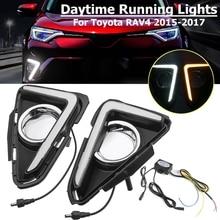 Для Toyota RAV4 2016 2017 1 пара светодио дный днем ходовые огни желтый поворота сигнала Водонепроницаемый ABS 12 В автомобиля ДРЛ противотуманных фар отверстие