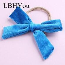 1pcs School Girls Soft Bows Nylon Headbands,Fashion Newborn Big Elastic Hairbands,Little Kids Hair Accessories