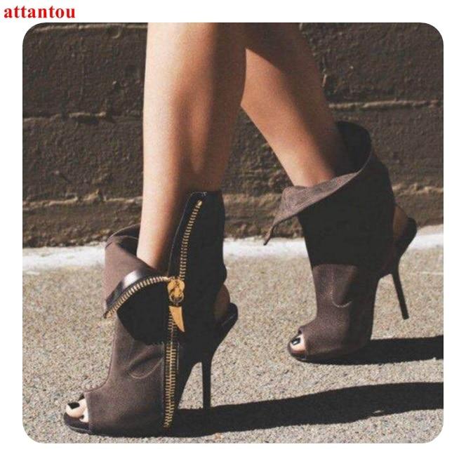 Cheville Picture Toe De Mode Zip Femme Arrière Chaussures Boot Hauts Automne Suédé À Femelle Cuir Talons As Courtes Talon Peep En Bride Côté Chaude noir Mince Bottes PPxw4H