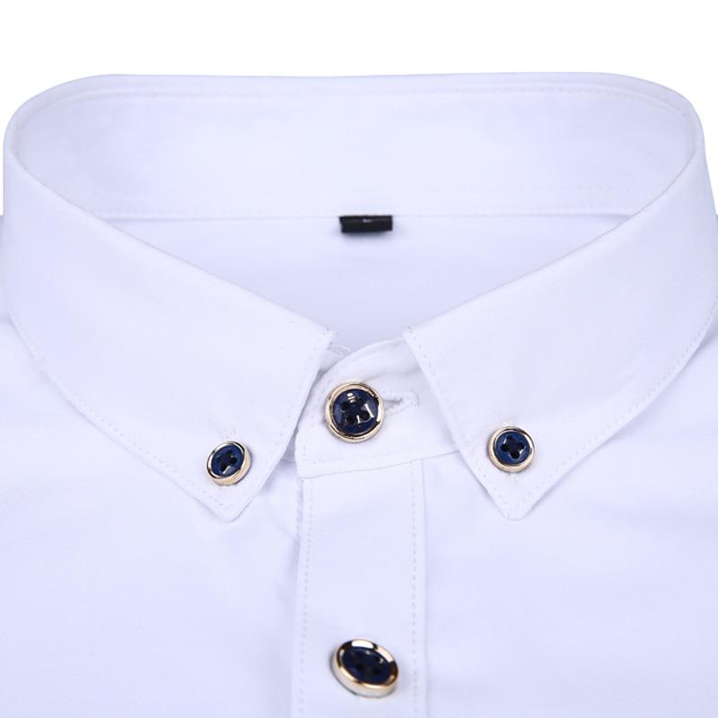 Men long-sleeve shirt Korean style 2019 spring and autumn teenage boy fashion shirt male slim print letter blue black white 3