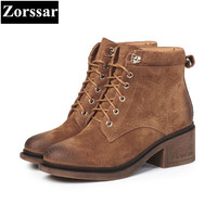 {Zorssar} 2018 New women ankle boots High heel Ladies platform Shoes Fashion Cow Suede Casual Vintage Womens Martin boots
