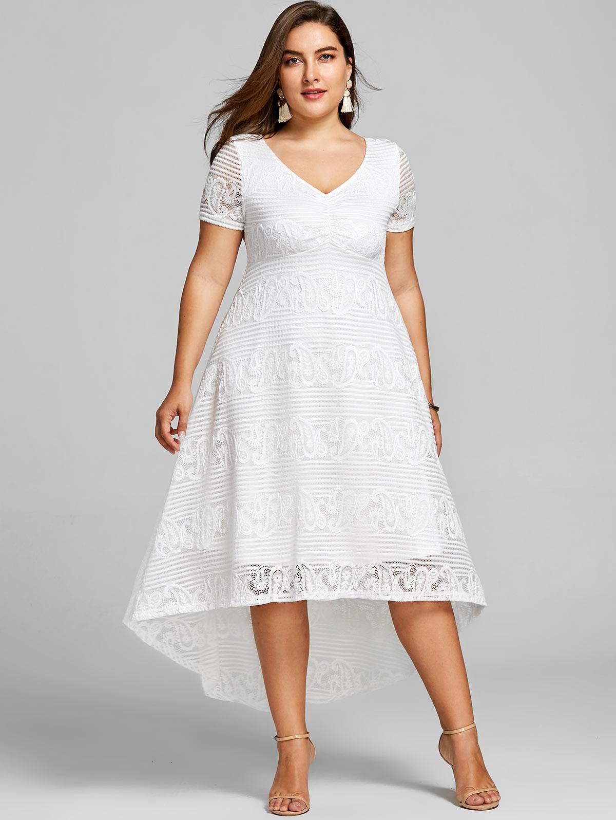 33210e6dc966b 2019 Gamiss Plus Size 5XL High Low Midi Dress Women Short Sleeves ...