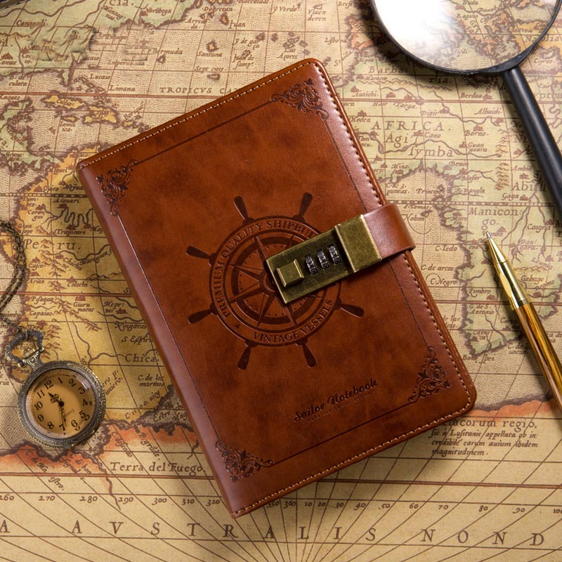 vintage creative fitted B6 Sailor travel journal planner faux leather notebook with password lock navigation agenda gift 1243