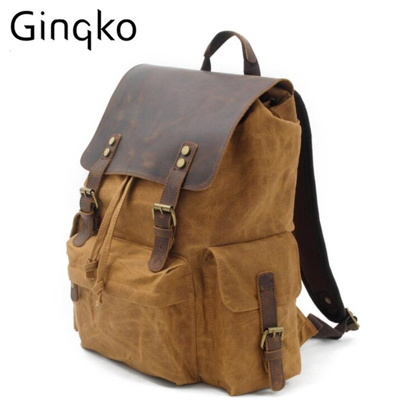 Ginko Outdoor Sports Bags travel bag large capacity leather retro shoulder Backpack for Travelling/Camping/Hiking/Mountaineering