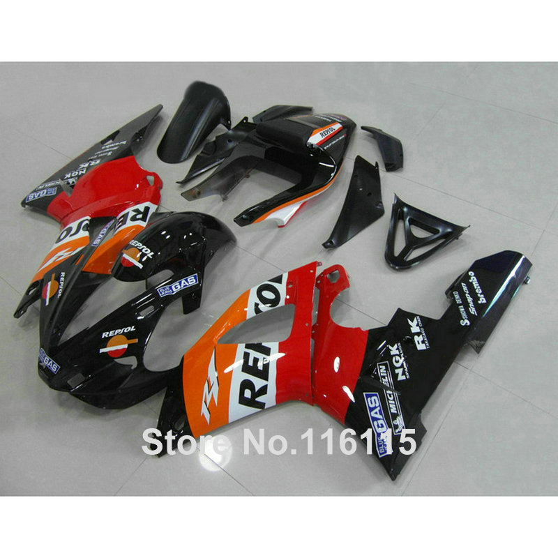 Injection molding fit for YAMAHA YZF R1 2000 2001 red black REPSOL ABS customize fairing kit YZF-R1 00 01 fairings set GL96 high quality abs fairing kit for yamaha r1 2002 2003 red flames in black fairings set injection molding yzf r1 02 03 yz32