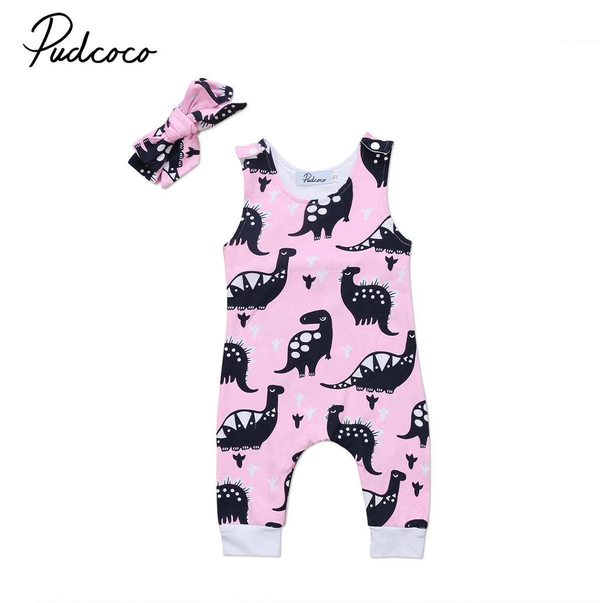 Sleeveless Romper Jumpsuit Dinosaur-Pattern Pink Toddler Baby-Girl Cute Newborn Outfit title=