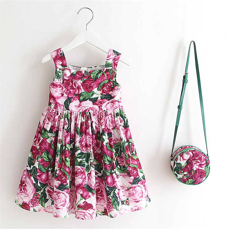 Flower Girl Dresses Summer 2017 2 PCS Dress+Bag Girls Dress Kids Rose Bianco Cotton Dresses For Girls Costumes With Bag