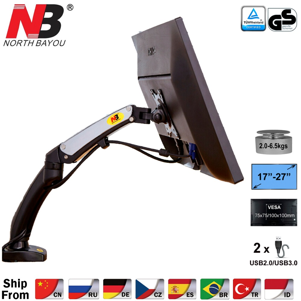 NB F100 Aluminum 17 27inch LED LCD Monitor Holder Arm Ergonomic Gas Strut Desktop Mount Bracket with 2 USB Port Load 2~6.5kgs-in TV Mount from Consumer Electronics