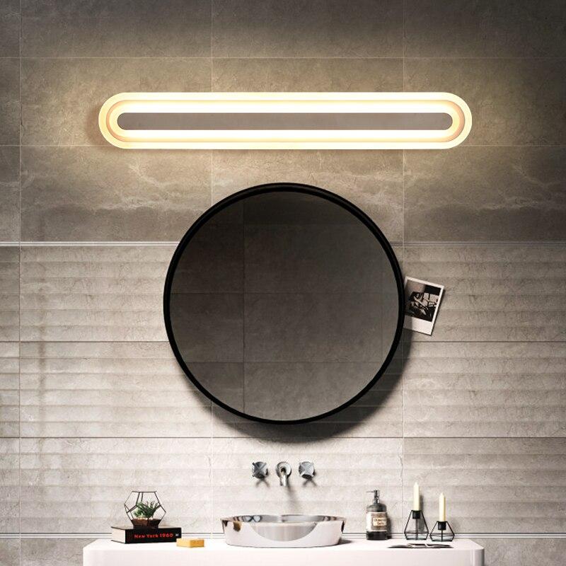 Loft Style vanity light for Bathroom Waterproof Acrylic Mirror Wall Light AC85 265V studio glow makeup light lamparas de pared