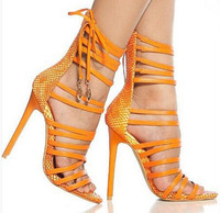 newest design open toe strappy lace up sandals woman high heel pumps snakeskin leather woman dress shoes