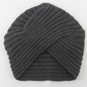 Image 4 - Women Bohemian Style Warm Winter Autumn knitted Cap Fashion Boho Soft Hair Accessories Turban Solid Color Muslim hat Whole Sale