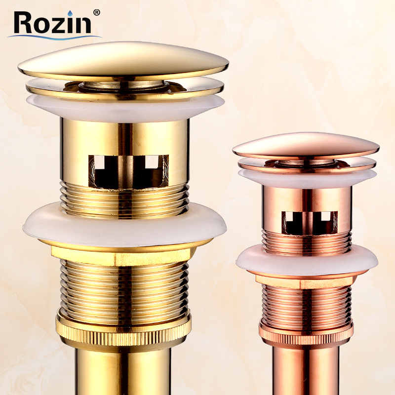 Free Shipping Rose Gold /Golden Brass Basin Sink Pop Up Drain with Overflow Bathroom Waste Drainer free shipping brass bath pop up drain rotable bathroom tub sink waste drainer bathtub drain