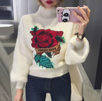 Women Vintage Turtleneck Sweater 2018 New Autumn Winter Lantern Sleeve Knit Top Woman Rose Embroidery Sequins Pullover Sweaters