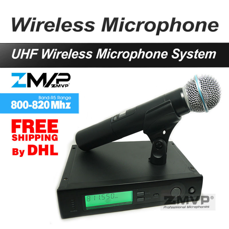 Free Shipping by DHL FEDEX to US EUR! Professional UHF Wireless Microphone Cordless Handheld Karaoke System free shipping uhf professional s24 b 58 wireless microphone cordless karaoke system with handheld transmitter band r5 800 820mhz